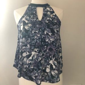 ASTR Black and Purple tank/blouse
